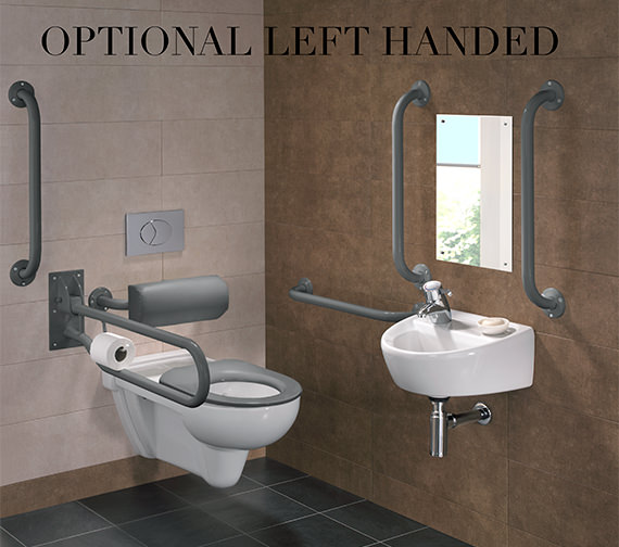 Alternate image of Twyford Doc.M Rimless Wall Hung WC Pack With Grab Rails And Seat