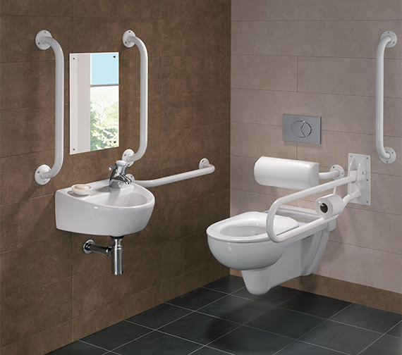 Additional image of Twyford Doc.M Rimless Wall Hung WC Pack With Grab Rails And Seat