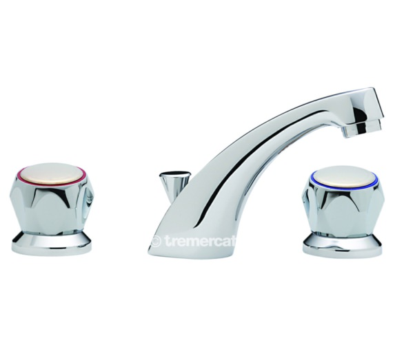 Tre Mercati Capri 3 Hole Basin Mixer Tap With Pop-Up Waste And Heads