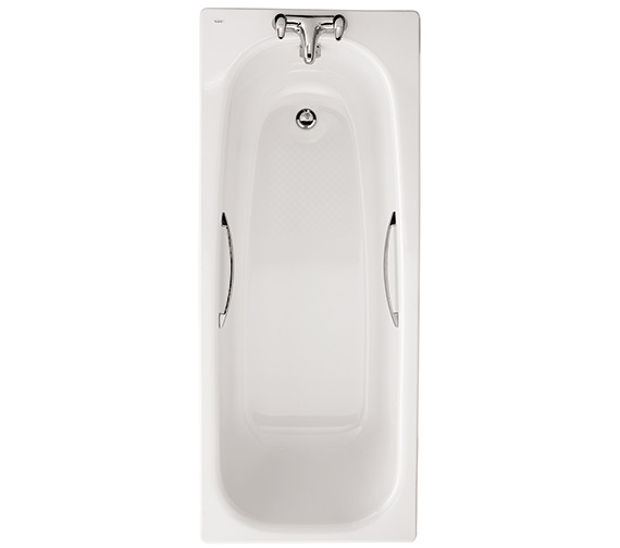 Twyford Neptune 1700 x 700mm Slip Resistant Steel Bath With Grips - 2 Tap Hole