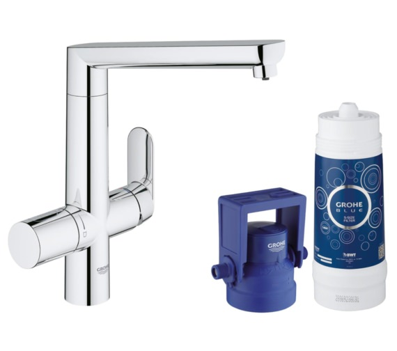 Grohe Blue Single Lever Chrome Kitchen Sink Mixer Tap With Starter Kit