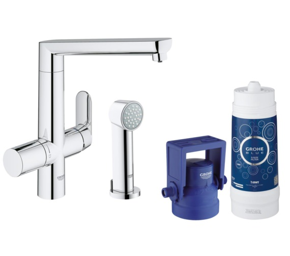 Grohe Blue Pure Chrome Kitchen Sink Mixer Tap With Starter Kit