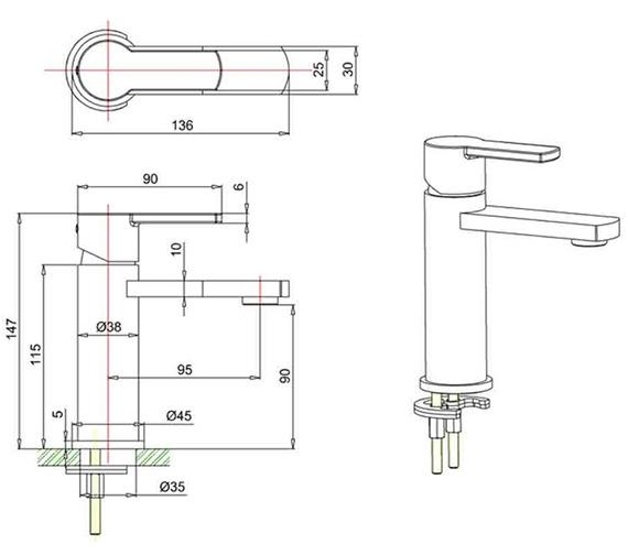 Technical drawing QS-V82510 / WP114DNC