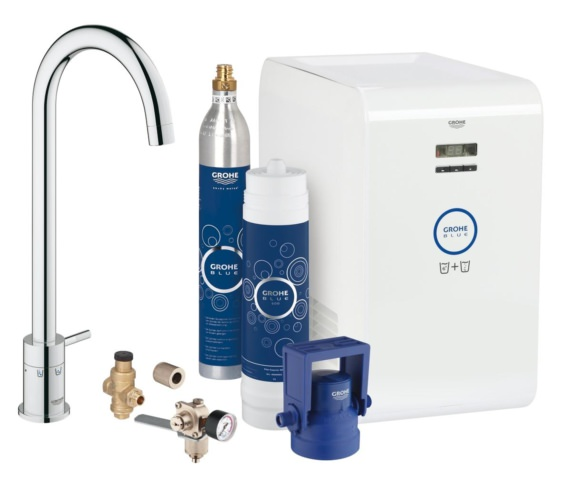 Grohe Blue Kitchen Chrome Sink Mixer Tap With Mono Starter kit