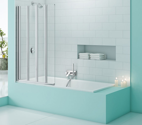 Merlyn SecureSeal 4 Fold Bath Screen 800 x 1500mm