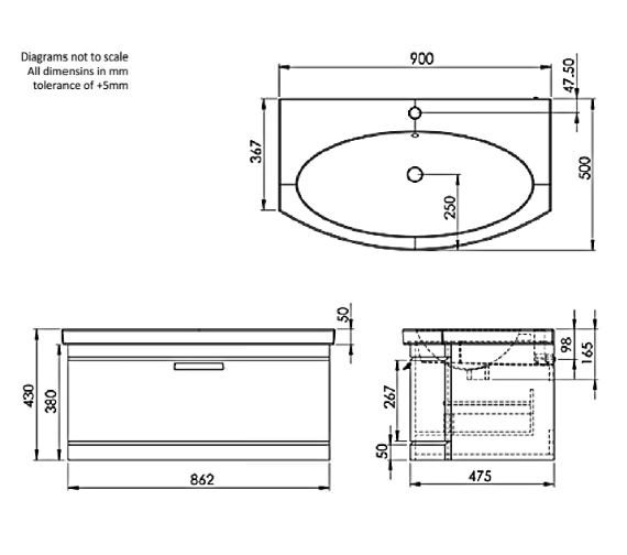 Technical drawing QS-V83955 / TE900WW