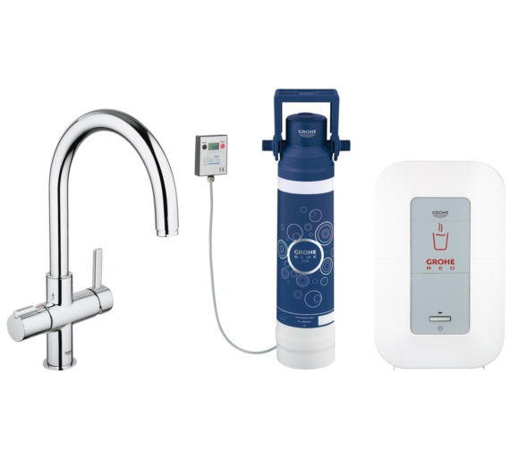 Grohe Red Duo Chrome Faucet And 4 Liters Single Boiler - 30058000