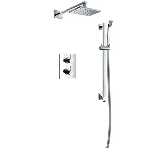 Flova Str8 Concealed Thermostatic Valve With Slide Rail Kit And Overhead