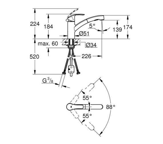 Technical drawing QS-V87099 / 30305000