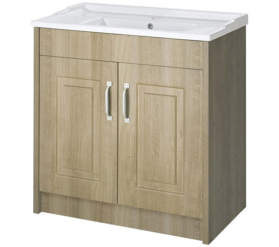 Lauren York 800mm Gladstone Oak 2 Door Floor Standing Basin Cabinet