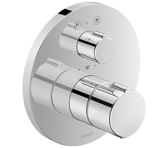 Duravit C.1 Round Thermostatic 2 Outlet Shower Mixer With Shut-Off Valve