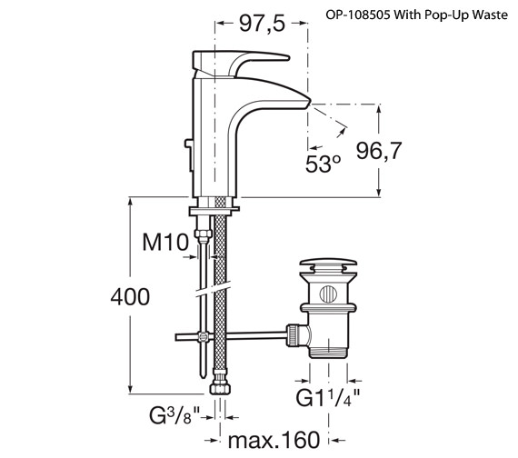 Additional image of Roca Thesis Basin Mixer Tap - 5A3150C00