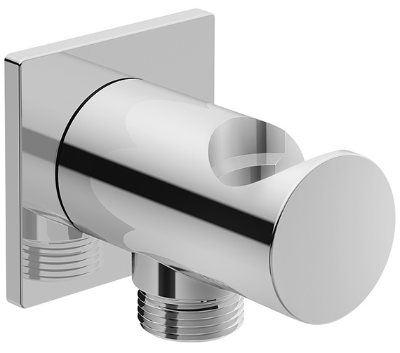 Duravit Wall Shower Hose Outlet With Handset Holder And Square Escutcheon