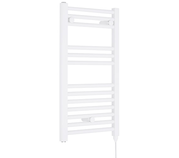 Premier Straight 400 x 720mm White Heated Electric Towel Rail - MTY156