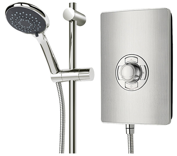 Alternate image of Triton Authentic Aspirante Brushed Steel Electric Shower 9.5 KW- ASP09BRSTL