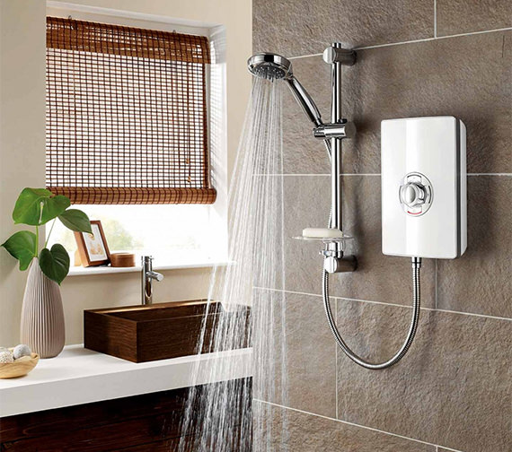 Alternate image of Triton Aspirante White Gloss Electric Shower 8.5 KW - ASP08GSWHT