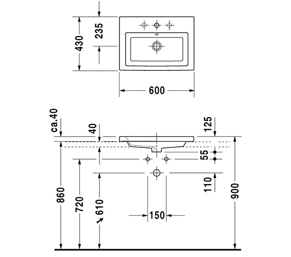 Alternate image of Duravit 2nd Floor 600 x 430mm Countertop Vanity Basin