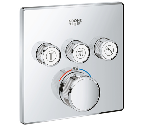 Grohe Grohtherm SmartControl Chrome Concealed Thermostat With 3 Valves