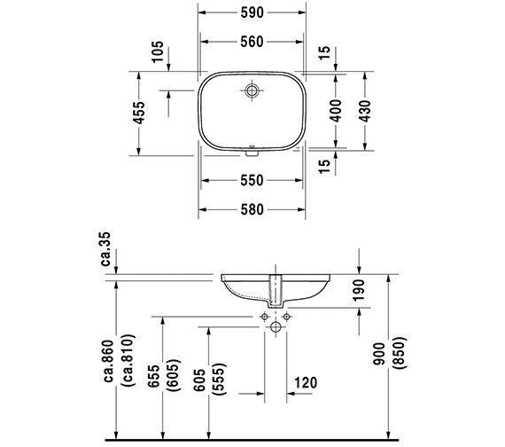Duravit D-Code 495mm Undercounter Vanity Basin
