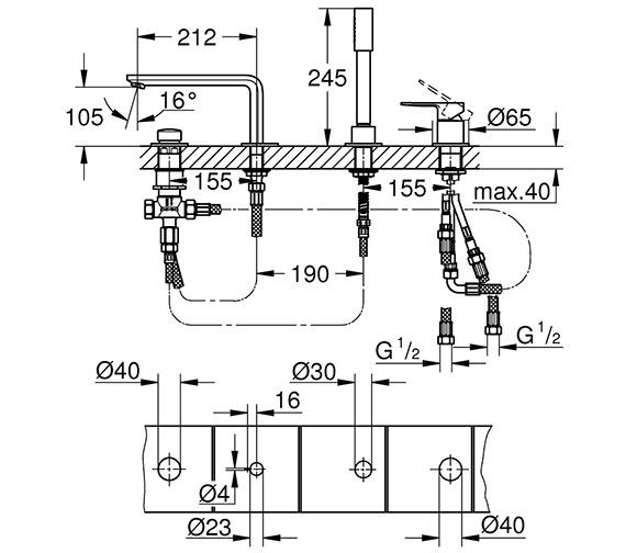 Technical drawing QS-V80596 / 19577001