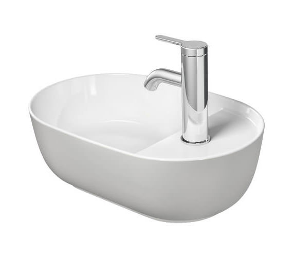 Additional image of Duravit Luv 420 x 270mm White Alpin Ground Wash Bowl With Tap Platform