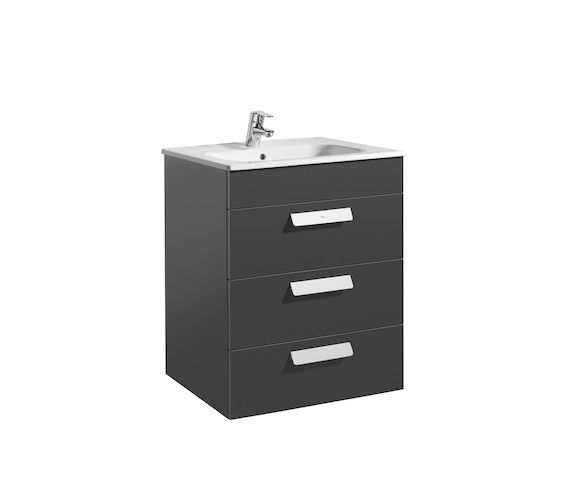 Additional image of Roca Debba Standard 600mm Vanity Unit With 3 Drawers