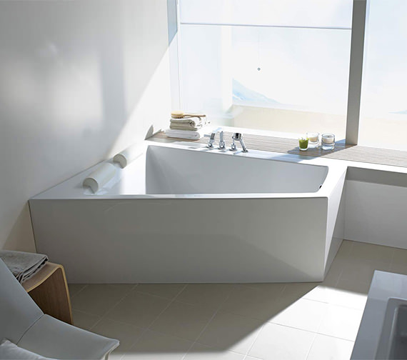 Duravit Paiova 1700 x 1300mm Left Hand Backrest Slope Bath With Panel And Combi System E