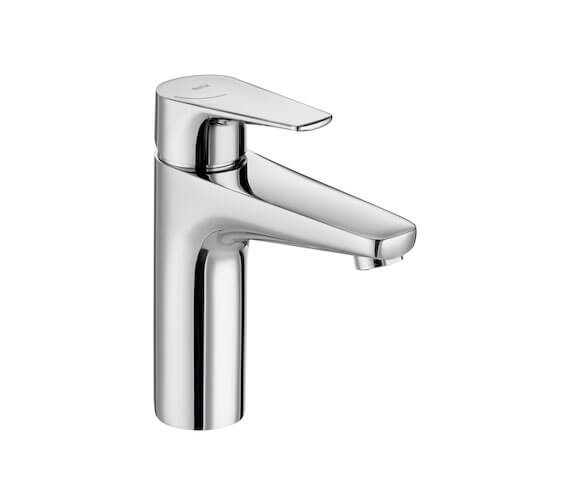 Roca Atlas Medium-Height Basin Mixer Tap With Smooth Body - Cold Start