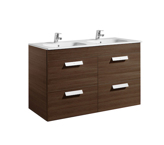 Roca Debba Unik 4 Drawer Base Unit And Double Bowl Basin 1200mm