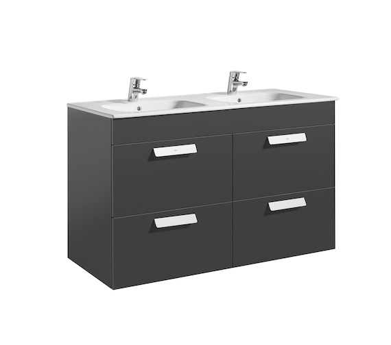 Additional image of Roca Debba Unik 4 Drawer Base Unit And Double Bowl Basin 1200mm