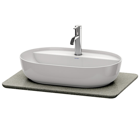 Additional image of Duravit Luv 688 x 475mm White Structure 1 Cut-Out Quartz Stone Console