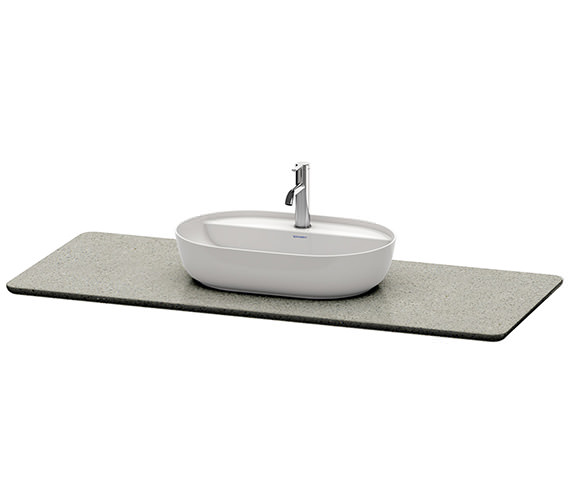 Additional image of Duravit Luv 1388 x 595mm White Structure 1 Cut-Out Quartz Stone Console