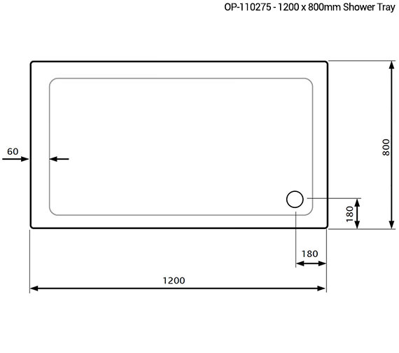 Additional image of Lakes Standard Height 1200 x 700mm Stone Resin Tray With Waste