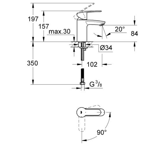 Alternate image of Grohe Eurostyle Cosmopolitan Chrome Mono Basin Mixer Tap Smooth Body