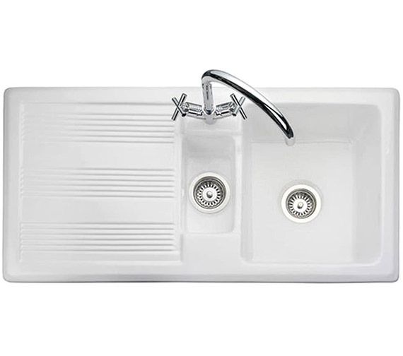 Rangemaster Portland 1.5 Bowl Ceramic Kitchen Sink White - CPL10102WH