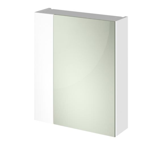 Hudson Reed Full Depth 600mm White Double Door 75-25 Mirror Cabinet