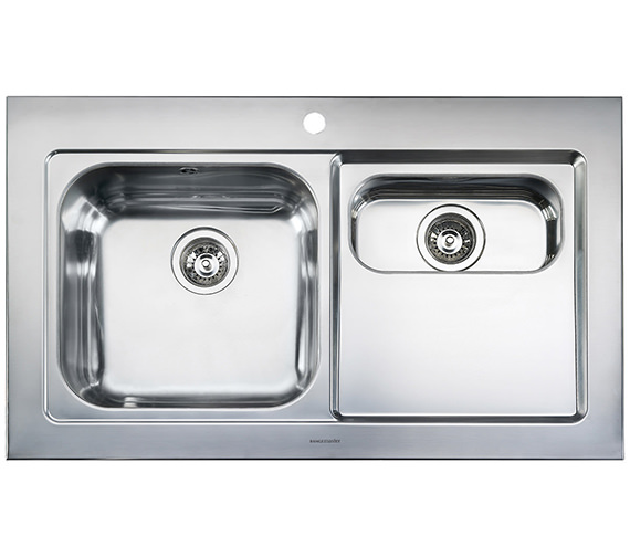 Rangemaster Mezzo 1.5 Bowl Stainless Steel Kitchen Sink Right Hand Drainer
