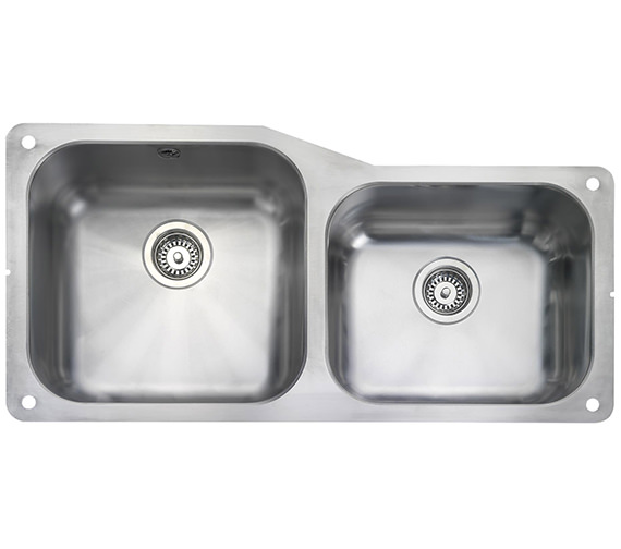 Rangemaster Atlantic Classic 2 Bowl Stainless Steel Undermount Sink Small RH