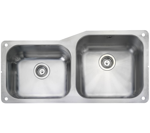 Rangemaster Atlantic Classic 2 Bowl Stainless Steel Undermount Sink Small LH