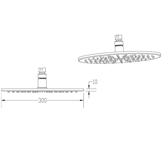 Additional image of Nuie Round Or Square 200mm Fixed Shower Head With LED