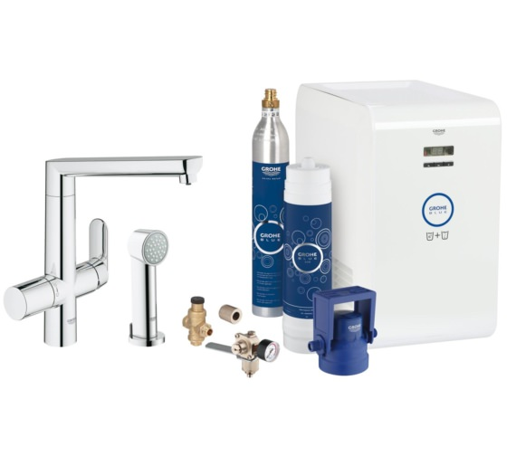 Grohe Blue K7 Chrome Kitchen Sink Mixer Tap With Starter Kit