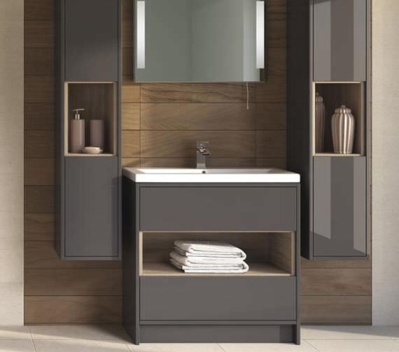 Hudson Reed Coast 800mm Grey And Driftwood Unit With