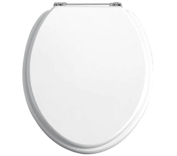 Heritage White Ash Soft Close WC Seat And Cover With Chrome Hinge