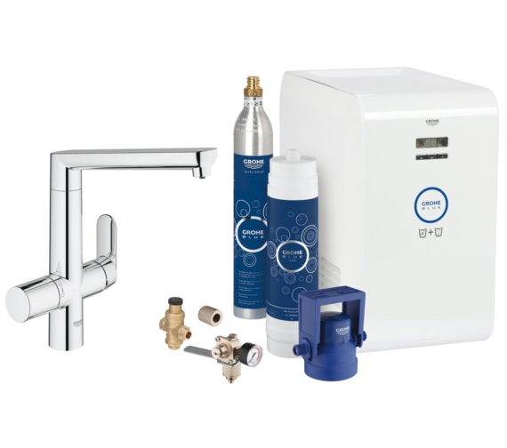 Grohe Blue Single Lever Deck Mounted Kitchen Sink Mixer Tap With Starter Kit