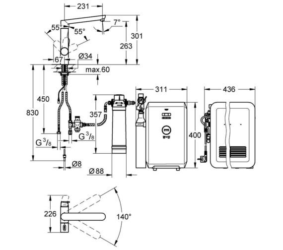 Technical drawing QS-V29113 / 31346001