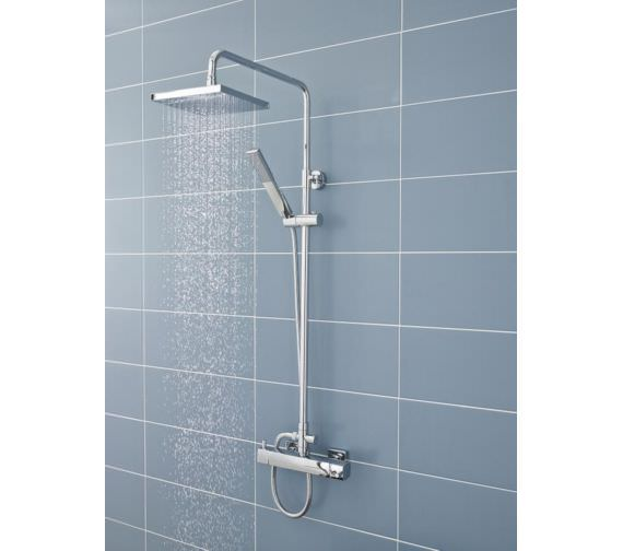 Hudson Reed Telescopic Rigid Riser Kit With Diverter And Square Shower Head