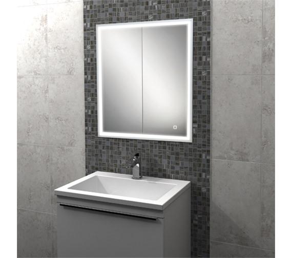 HIB Vanquish Double Door LED Demisting Recessed Mirror Cabinet 730mm High