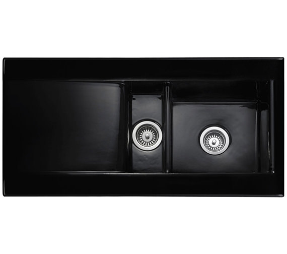 Rangemaster Nevada 1.5 Bowl Ceramic Kitchen Sink Black - CNV2BL