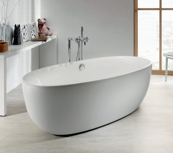Roca Varginia Oval 1700 x 800mm Freestanding Acrylic Bath With Waste Kit