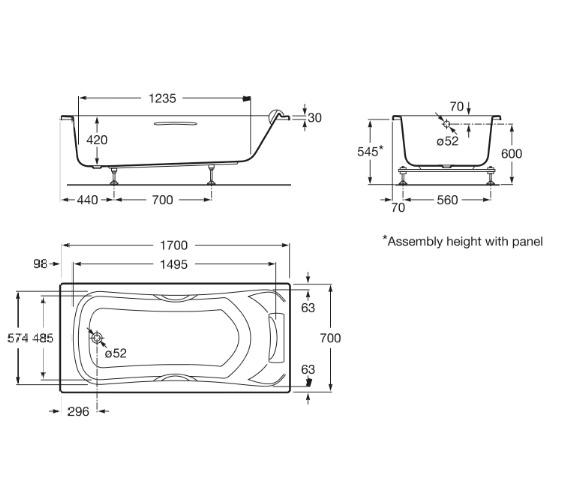 Roca BeCool 1700 x 700mm Rectangular Acrylic Bath With Grips And Headrest